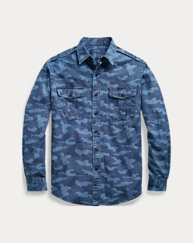 폴로 랄프로렌 Polo Ralph Lauren Classic Fit Chambray Workshirt,2572 Indigo Camo