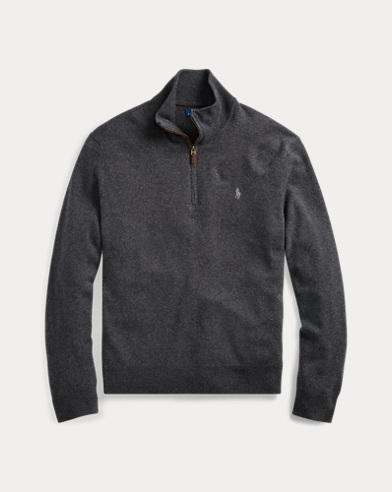 폴로 랄프로렌 맨 매리노울 하프짚 스웨터 - 그레이 헤더 Polo Ralph Lauren Merino Wool Half-Zip Sweater,Grey Htr