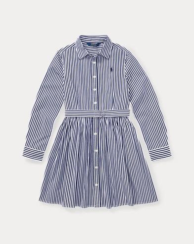 폴로 랄프로렌 걸즈 셔츠 원피스 네이비/화이트 Polo Ralph Lauren Striped Cotton Shirtdress,Navy/White