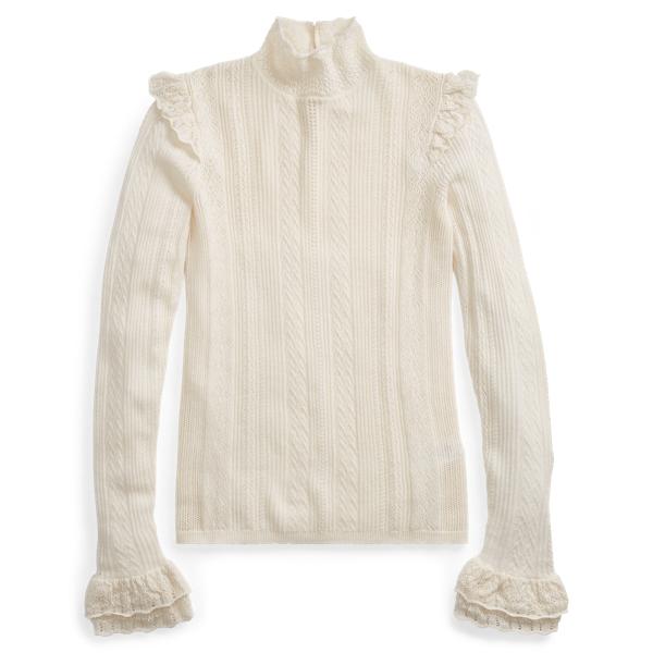 Ralph Lauren - Ruffled Pointelle Wool Sweater - 1