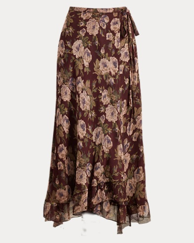 폴로 랄프로렌 Polo Ralph Lauren Floral-Print Silk Maxiskirt,Burgundy Floral