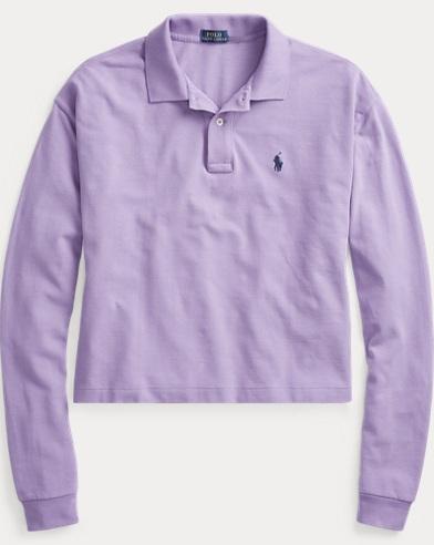 폴로 랄프로렌 긴팔 카라티 Polo Ralph Lauren Cropped Mesh Polo Shirt,Wisteria