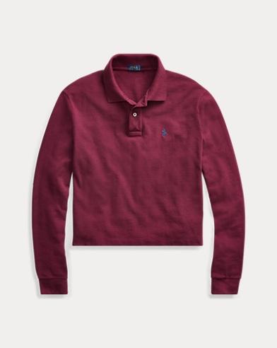 폴로 랄프로렌 긴팔 카라티 레드 Polo Ralph Lauren Cropped Mesh Polo Shirt,Monarch Red
