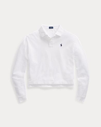 폴로 랄프로렌 긴팔 카라티 화이트 Polo Ralph Lauren Cropped Mesh Polo Shirt,White