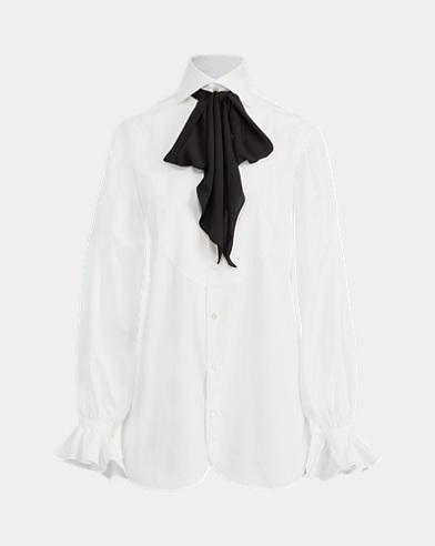 폴로 랄프로렌 넥타이 코튼 화이트 셔츠 (김태희 착용) Polo Ralph Lauren Necktie Cotton Button-Down, White
