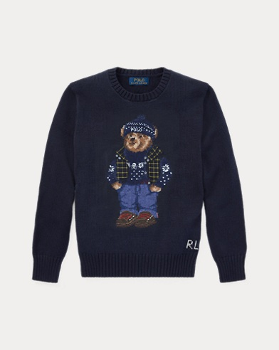 폴로 랄프로렌 보이즈 울 스웨터 네이비 Polo Ralph Lauren Polo Bear Cotton-Wool Sweater, Hunter Navy
