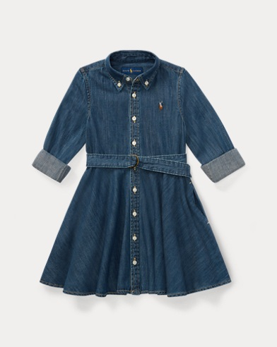 폴로 랄프로렌 여아용 데님 셔츠원피스 Polo Ralph Lauren Belted Cotton Denim Shirtdress,Indigo