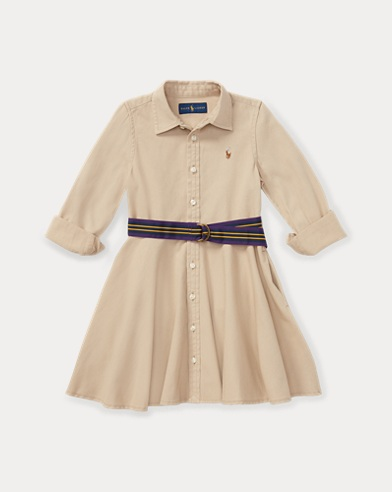 폴로 랄프로렌 여아용 치노 셔츠원피스 Polo Ralph Lauren Belted Cotton Chino Shirtdress,Khaki