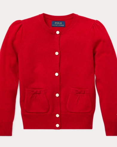 폴로 랄프로렌 걸즈 가디건 레드 Polo Ralph Lauren Bow-Detail Wool Cardigan,Park Avenue Red