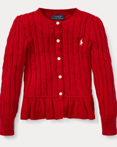 폴로 랄프로렌 걸즈 가디건 레드 Polo Ralph Lauren Cotton Peplum Cardigan,Park Avenue Red