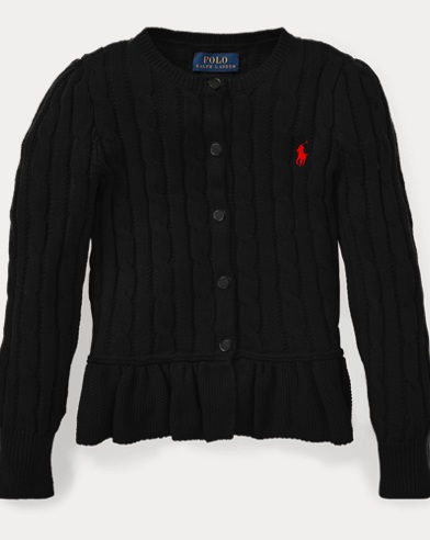 폴로 랄프로렌 걸즈 가디건 블랙 Polo Ralph Lauren Cotton Peplum Cardigan,Polo Black