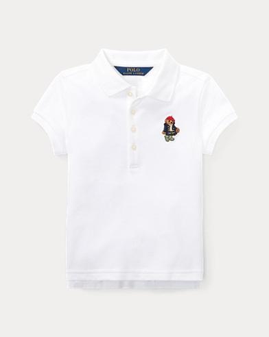 폴로 랄프로렌 여아용 반팔 카라티 화이트 Polo Ralph Lauren Polo Bear Mesh Polo Shirt,White