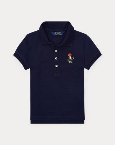 폴로 랄프로렌 여아용 반팔 카라티 네이비 Polo Ralph Lauren Polo Bear Mesh Polo Shirt,French Navy
