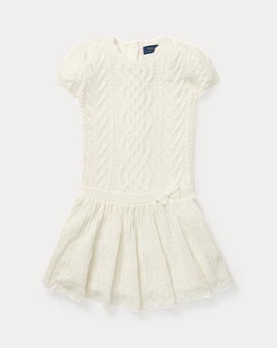 폴로 랄프로렌 걸즈 원피스 크림 Polo Ralph Lauren Aran-Knit Cashmere Dress,Cream