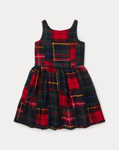 폴로 랄프로렌 걸즈 원피스 네이비 Polo Ralph Lauren Tartan Patchwork Cotton Dress,Navy/Multi