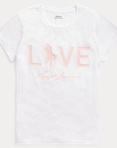 폴로 랄프로렌 Polo Ralph Lauren Pink Pony Love Graphic T-Shirt,White