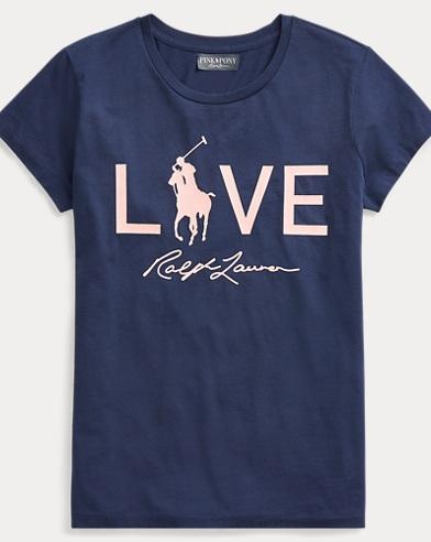 폴로 랄프로렌 Polo Ralph Lauren Pink Pony Love Graphic T-Shirt,Spring Navy