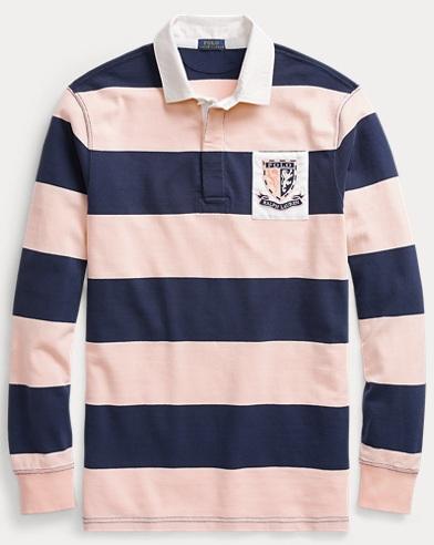폴로 랄프로렌 Polo Ralph Lauren Pink Pony Jersey Rugby Shirt,Spring Navy/ Love Pink