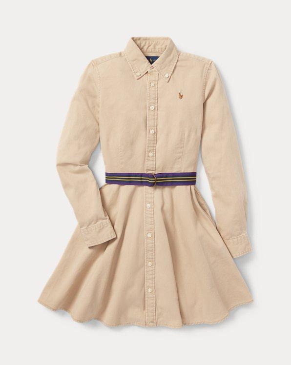 폴로 랄프로렌 걸즈 원피스 Polo Ralph Lauren Belted Cotton Chino Shirtdress,Khaki