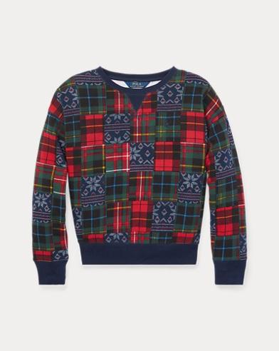 폴로 랄프로렌 걸즈 스웻셔츠/맨투맨 네이비/레드 Polo Ralph Lauren Patchwork Terry Sweatshirt,Navy/Red Multi