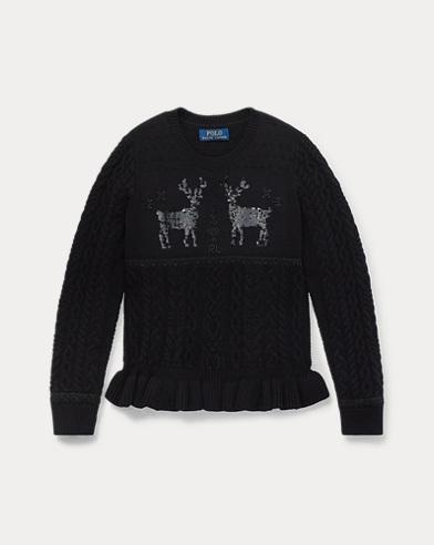 폴로 랄프로렌 여아용 스웨터 블랙 Polo Ralph Lauren Embellished Reindeer Sweater,Black