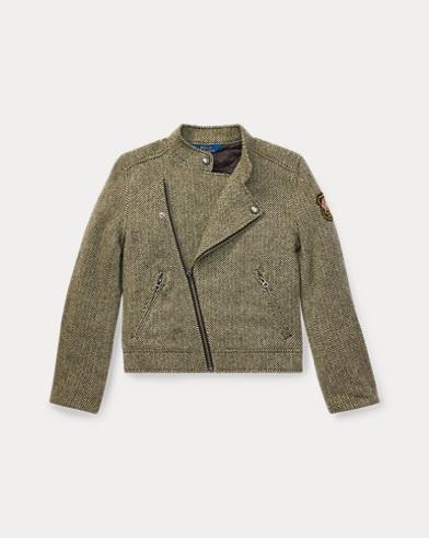 폴로 랄프로렌 걸즈 자켓 블랙/크림 Polo Ralph Lauren Herringbone Moto Jacket,Black/Cream
