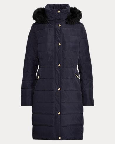 로렌 랄프로렌 우먼 롱 패딩 다운 코트 다크 네이비 Polo Ralph Lauren Faux Fur-Trim Hooded Down Coat, Dark Navy 450269