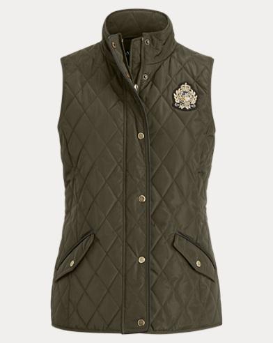 폴로 랄프로렌 퀼트 조끼 다크 모스 Polo Ralph Lauren Quilted Mockneck Vest,Dark Moss