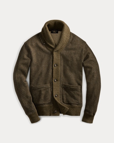 폴로 랄프로렌 Polo Ralph Lauren Knit-Trim Terry Cardigan,Olive Donegal