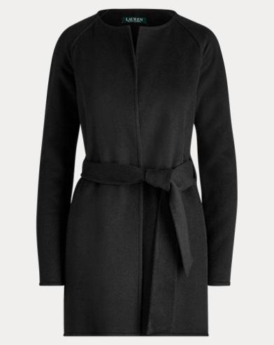 로렌 랄프로렌 울 블렌드 벨티드 코트 블랙 LAUREN Ralph Lauren Wool-Blend Belted Coat,Polo Black