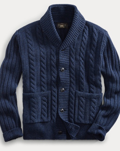 폴로 랄프로렌 Polo Ralph Lauren Cable-Rib Wool Cardigan,Navy Heather