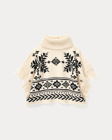 폴로 랄프로렌 걸즈 판쵸 Polo Ralph Lauren Fringe-Trim Graphic Poncho,Cream Multi