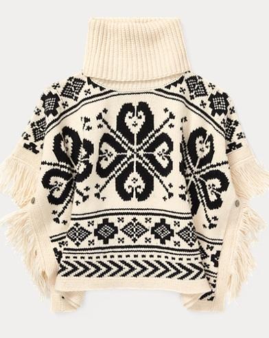 폴로 랄프로렌 Polo Ralph Lauren Fringe-Trim Wool-Blend Poncho,Cream Multi