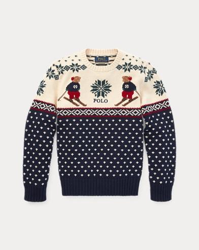폴로 랄프로렌 보이즈 스웨터 네이비 Polo Ralph Lauren Ski Bear Cotton-Merino Sweater,Hunter Navy Multi