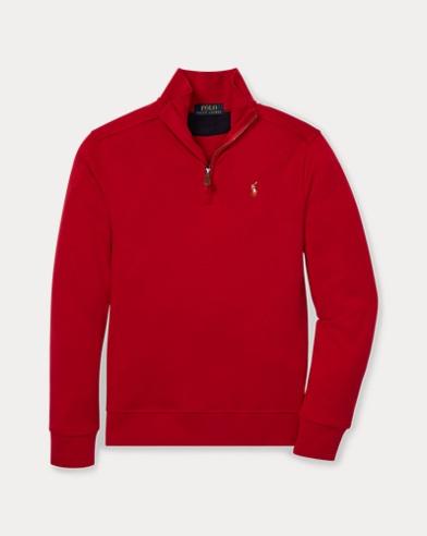 폴로 랄프로렌 Polo Ralph Lauren Cotton Half-Zip Pullover,Park Avenue Red