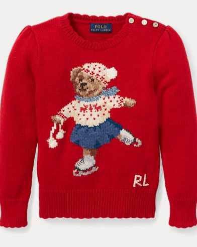 폴로 랄프로렌 걸즈 스웨터 레드 Polo Ralph Lauren Holiday Bear Sweater,Park Avenue Red