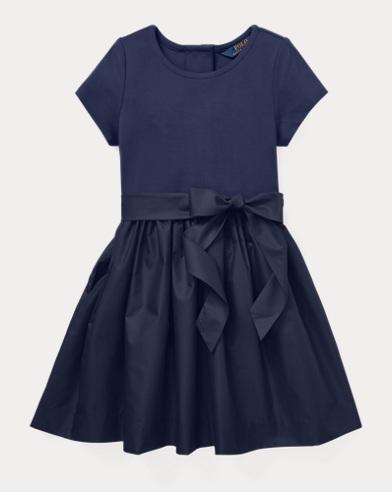 폴로 랄프로렌 걸즈 원피스 네이비 Polo Ralph Lauren Knit-Woven Fit-and-Flare Dress,Cruise Navy