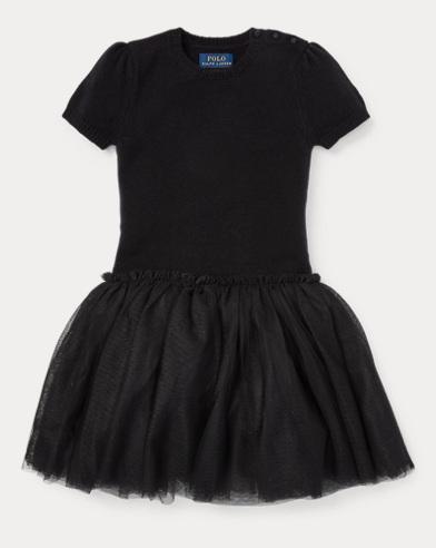 폴로 랄프로렌 걸즈 스웨터 원피스 블랙 Polo Ralph Lauren Tulle Sweater Dress,Black