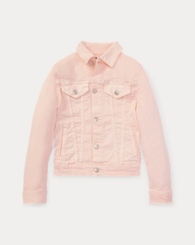 폴로 랄프로렌 걸즈 데님 자켓 Polo Ralph Lauren Pink Pony Denim Trucker Jacket,Love Pink