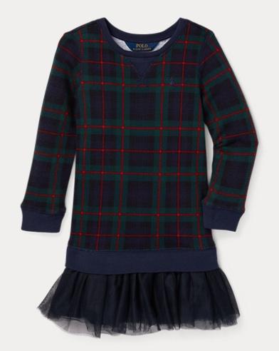 폴로 랄프로렌 걸즈 원피스 레드 Polo Ralph Lauren Print Tulle-Terry Dress,Green/Red Multi