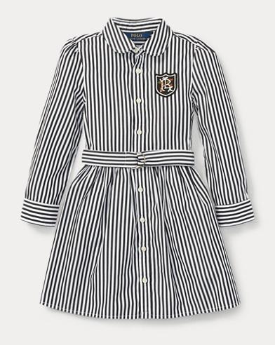 폴로 랄프로렌 걸즈 셔츠 원피스 블랙/화이트 Polo Ralph Lauren Bengal-Stripe Shirtdress,Black/White