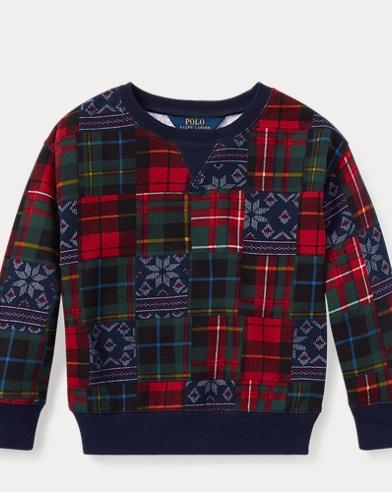 폴로 랄프로렌 걸즈 맨투맨/스웻셔츠 네이비/레드 Polo Ralph Lauren Patchwork Terry Sweatshirt,Navy/Red Multi