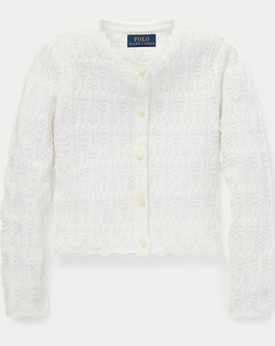 폴로 랄프로렌 걸즈 가디건 Polo Ralph Lauren Pointelle Cotton Cardigan,Nevis
