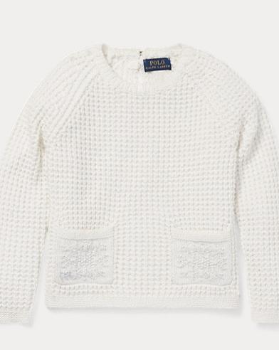 폴로 랄프로렌 걸즈 스웨터 Polo Ralph Lauren Snowflake Waffle-Knit Sweater,Nevis