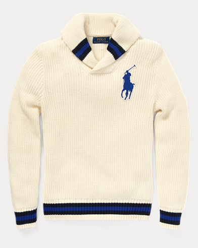 폴로 랄프로렌 보이즈 숄 카라 스웨터 크림 Polo Ralph Lauren Cotton Shawl-Collar Sweater,Guide Cream