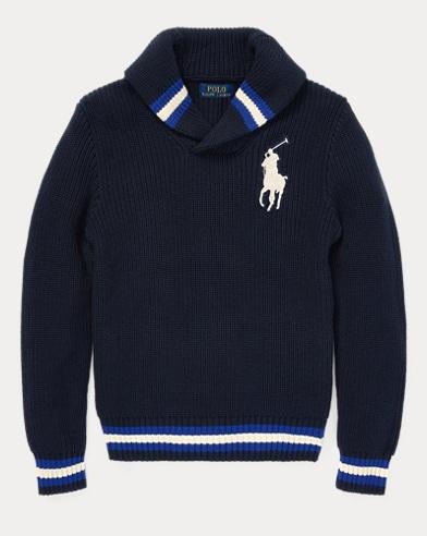 폴로 랄프로렌 보이즈 숄 카라 스웨터 네이비 Polo Ralph Lauren Cotton Shawl-Collar Sweater,Hunter Navy