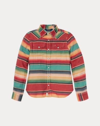 폴로 랄프로렌 Polo Ralph Lauren Serape Cotton Western Shirt,Red/Turquoise Multi