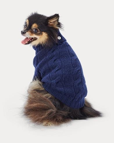 폴로 랄프로렌 강아지 꽈배기 캐시미어 스웨터 - 네이비 Polo Ralph Lauren Cable Cashmere Dog Sweater,French Navy