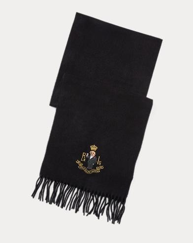 폴로 랄프로렌 Polo Ralph Lauren Polo Bear Cashmere-Blend Scarf,Black