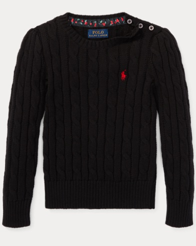 폴로 랄프로렌 걸즈 스웨터 블랙 Polo Ralph Lauren Cable-Knit Cotton Sweater,Polo Black